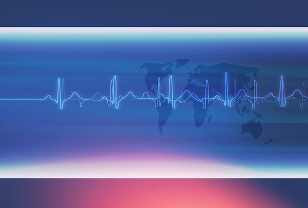 Servizio di assistenza sanitaria di fondo medico della frequenza del battito cardiaco attraverso il concetto del mondo