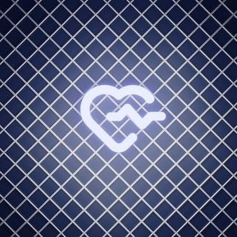 Rendering di effetto neon del segno di battito cardiaco