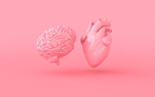 Rendering 3d di cuore e cervello emozioni e concetto di conflitto di pensiero razionale