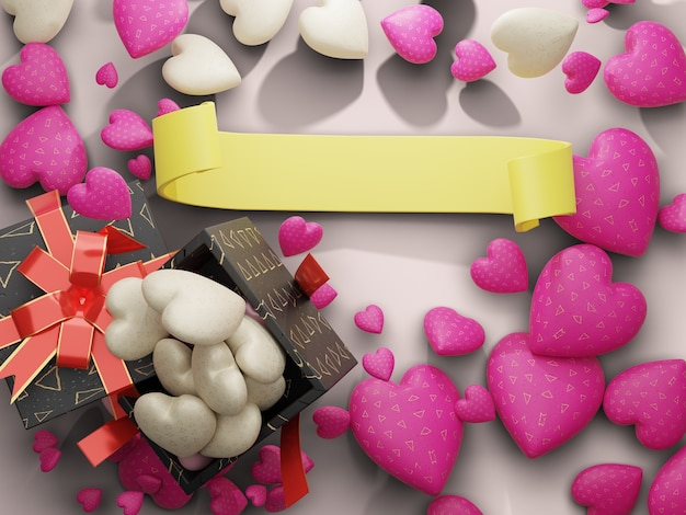 Scatola di cioccolato e cuore con spazio vuoto nastro giallo sul lato centrale. rendering 3d