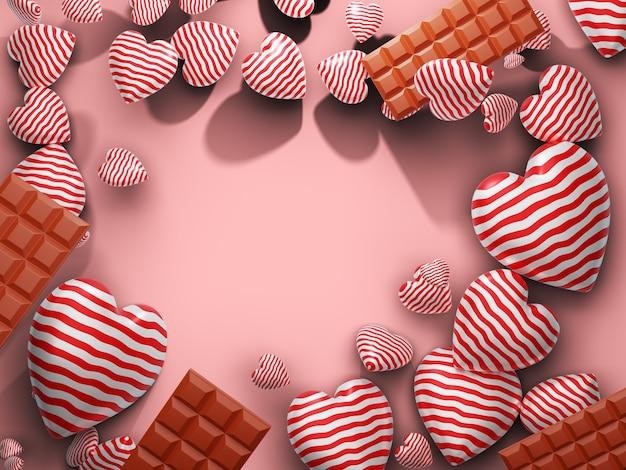 Cuore e cioccolato con spazio vuoto sul lato centrale. rendering 3d