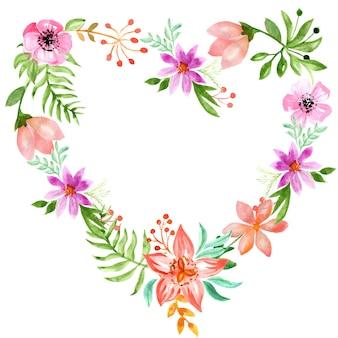 Cornice cuore da fiori semplici foglie bacche di felce e ramoscelli acquerello di cuori floreali colorati