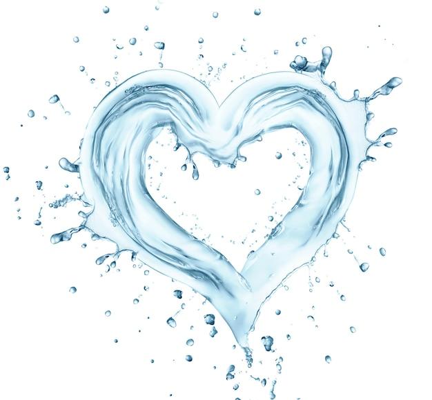 Cuore da spruzzi d'acqua con bolle, amore simbol. isolato su bianco