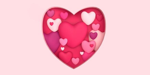 Cuore pieno di amore per il romantico concetto 3d reso con sfondo rosa