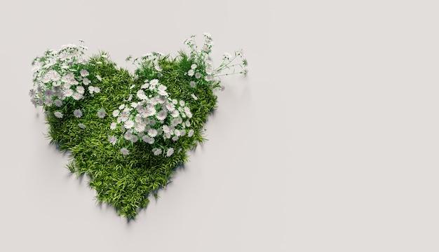 Cuore d'erba con fiori bianchi su sfondo bianco. copyspace. rendering 3d