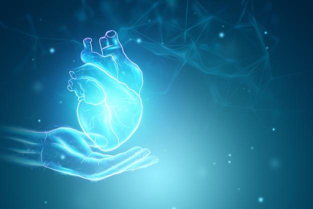 Ologramma del cuore sopra il palmo. concetto di tecnologia, donazione, diagnostica online. rendering 3d, illustrazione 3d.