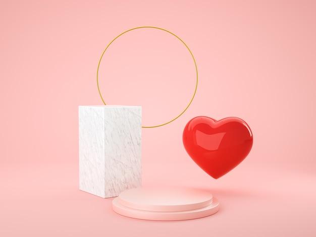 Simbolo di amore del cuore 3d e podio della geometria per il prodotto di visualizzazione, presente e pubblicità. rendering 3d