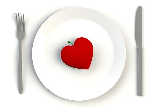 Cuore sul piatto, coltello e forchetta sulla tavola bianca, rappresentazione 3d