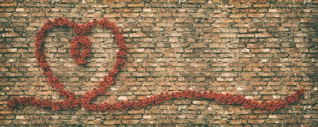 Cuore di rose sullo sfondo del muro di mattoni, rendering 3d