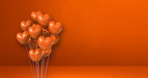 Mazzo di palloncini a forma di cuore su sfondo muro arancione. banner orizzontale. rendering di illustrazione 3d