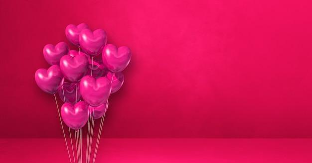 Mazzo di palloncini a forma di cuore su uno sfondo di muro rosa. banner orizzontale. rendering di illustrazione 3d