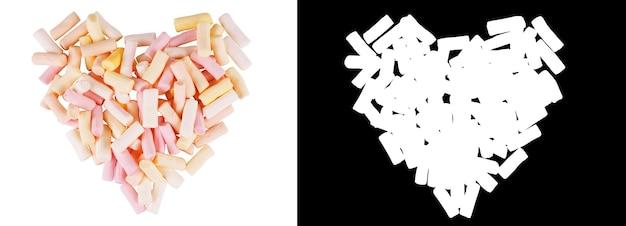 Marshmallow a forma di cuore con sfondo bianco con canale alfa
