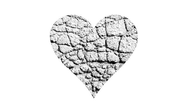 A forma di cuore con texture in bianco e nero isolato su sfondo bianco