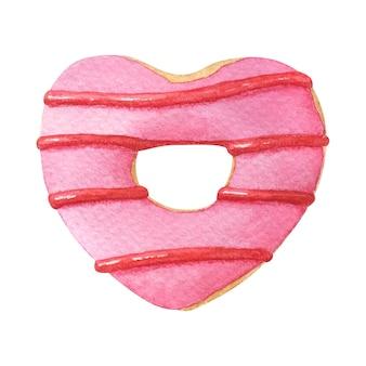 Ciambella a forma di cuore con glassa rosa. illustrazione dell'acquerello disegnato a mano isolato su bianco