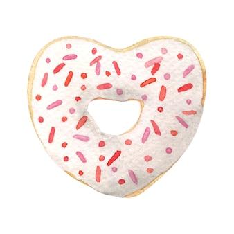 Ciambella a forma di cuore con glassa bianca. illustrazione dell'acquerello disegnato a mano isolato su bianco