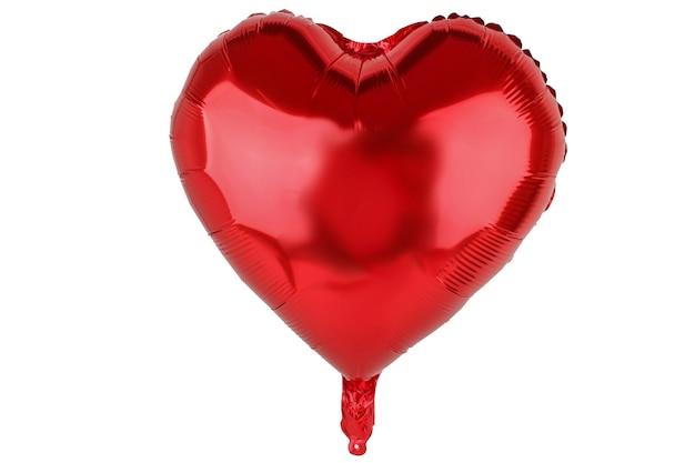 Palloncino rosso a forma di cuore su sfondo bianco isolato elemento per collage di foto