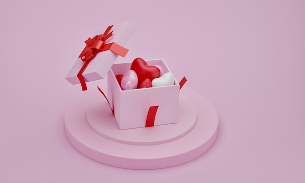 Cuori in confezione regalo sul podio di presentazione con sfondo di colore rosa. ide per la mamma, il giorno di san valentino, il compleanno, il rendering 3d.