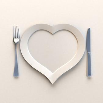 Piatto a forma di calore con coltello e forchetta