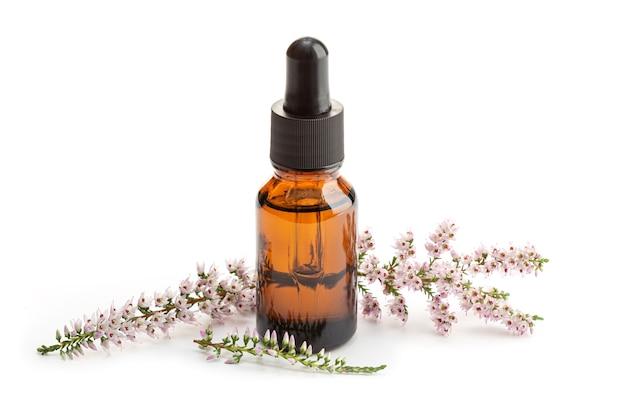 Olio essenziale di erica sulla bottiglia color ambra isolato su sfondo bianco. olio di erbe