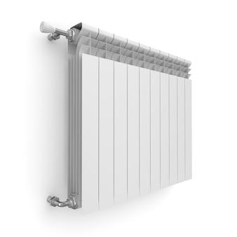 Radiatore di riscaldamento su priorità bassa bianca. illustrazione 3d isolata