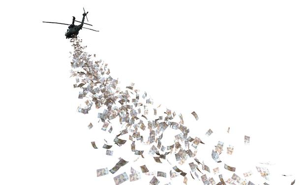 Elicottero che distribuisce denaro isolato su bianco.