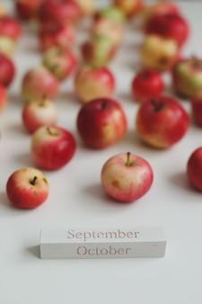 Ciao ottobre autunno carta con mele rosse fresche su sfondo bianco vista dall'alto