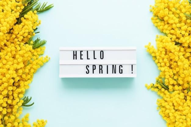 Ciao primavera scritta in una scatola luminosa e bordo di fiori di mimosa su un tavolo azzurro. primavera