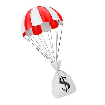 Aiuto con il concetto di denaro veloce. legato tela rustica tela sacco di soldi o sacco di soldi con il simbolo del dollaro che cade con il paracadute su uno sfondo bianco. rendering 3d