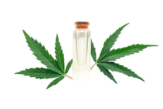 Olio essenziale di olio di canapa in bottiglia di vetro con foglie di cannabis isolato su sfondo bianco. foglia di cannabis con prodotto cosmetico per la cura della pelle