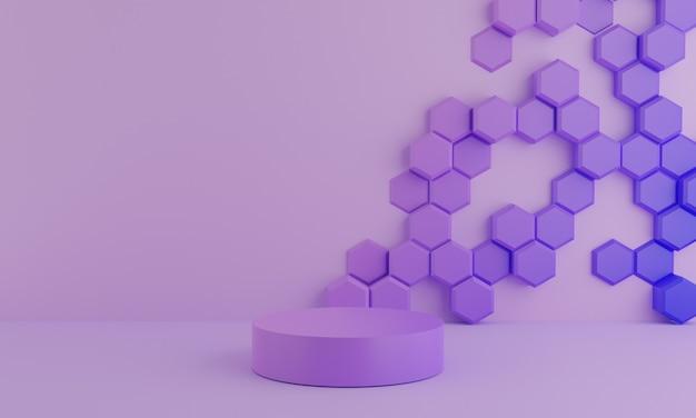 Esagono trama di sfondo viola astratto con forma geometrica. mockup minimo e concetto di scena podio pastello viola. design per display prodotto, rendering 3d