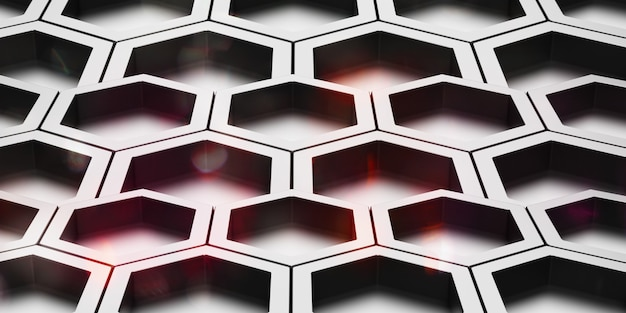 Struttura in acciaio lucido astratto esagonale nido d'ape esagonale