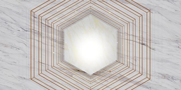 Fondo di marmo bianco di struttura della struttura di esagono per l'illustrazione 3d della merce e del testo