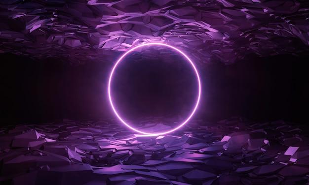 Terreno a geometria esagonale con anello led luminoso e nebbia nebbiosa