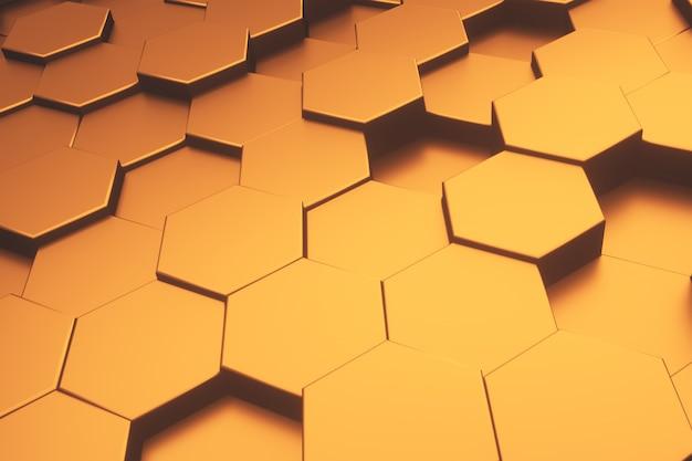 Fondo moderno dell'estratto del modello metallico dell'oro di esagono.