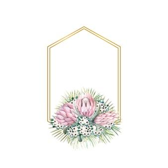 Cornice esagonale in oro con fiori di protea, foglie tropicali, foglie di palma, fiori di bouvardia