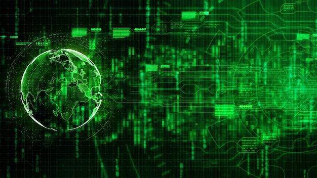 Fondo astratto digitale di ciao-tecnologia con l'ingranaggio di tecnologia e l'immagine della terra fornita dalla nasa