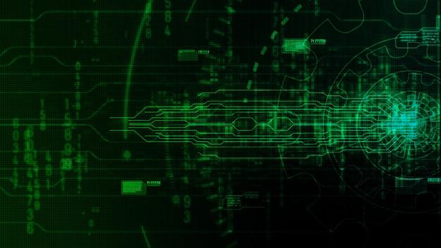 Fondo astratto digitale di ciao-tecnologia con l'ingranaggio di tecnologia