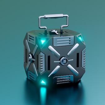 Contenitore di scatola di fantascienza futuristico hi-tech isolato su sfondo metallico. concetto di equipaggiamento militare e giochi. illustrazione 3d