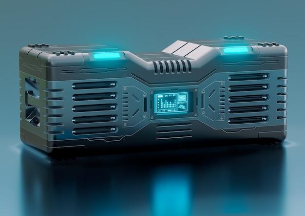 Contenitore di fantascienza futuristico hi-tech isolato su sfondo metallico. concetto di equipaggiamento militare e asset di giochi. illustrazione 3d