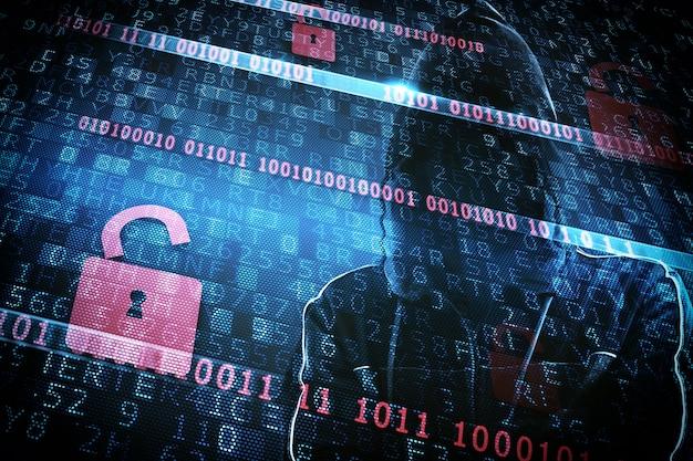 Identità nascosta di un hacker con un uomo con una felpa con cappuccio