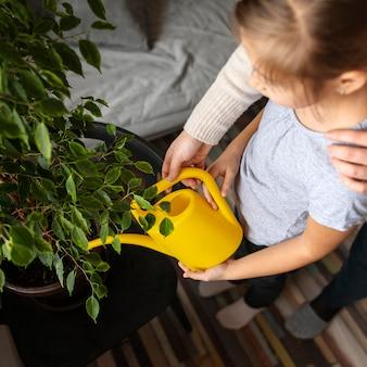 Alto angolo della bambina che innaffia la pianta a casa