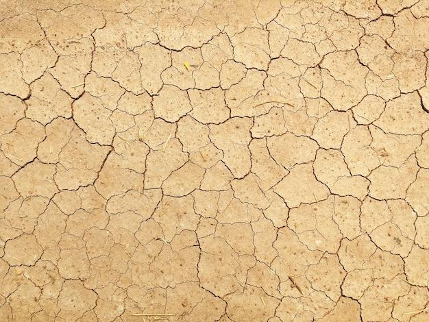 Vista di alto angolo del terreno del suolo della crepa per lo sfondo naturale astratto