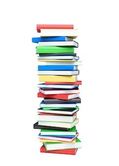 Pila di libri alta isolata su white