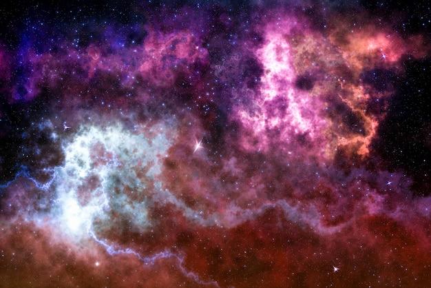 Campo stellare ad alta definizione, spazio colorato del cielo notturno. nebulosa e galassie nello spazio.