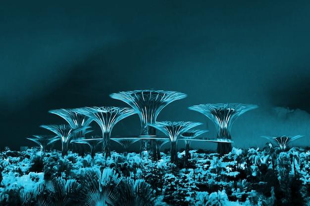 Alti alberi viola di ferro di notte a singapore.un fantastico paesaggio. avatar forest.