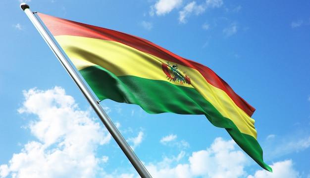 Illustrazione di rendering 3d ad alta risoluzione della bandiera della bolivia con uno sfondo di cielo blu