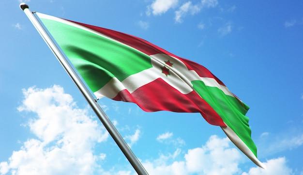 Illustrazione di rendering 3d ad alta risoluzione della bandiera del burundi con uno sfondo di cielo blu