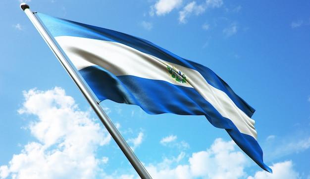Illustrazione di rendering 3d ad alta risoluzione della bandiera di el salvador con uno sfondo di cielo blu