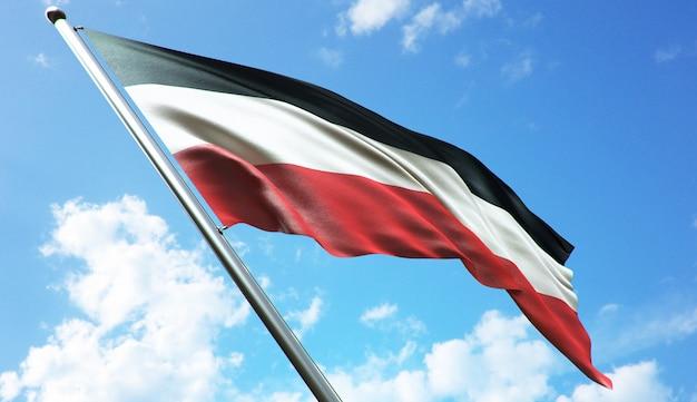 Illustrazione di rendering 3d ad alta risoluzione della bandiera dell'alto volta con uno sfondo di cielo blu