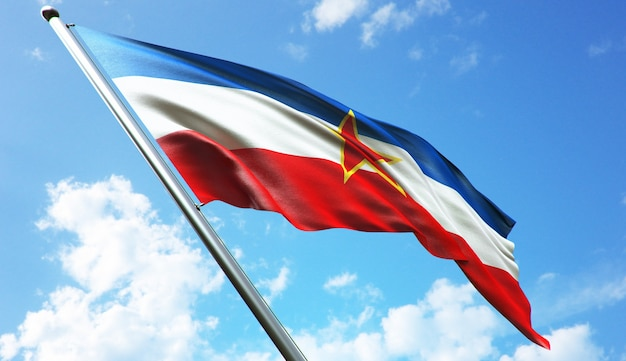 Illustrazione di rendering 3d ad alta risoluzione della bandiera della jugoslavia con uno sfondo di cielo blu